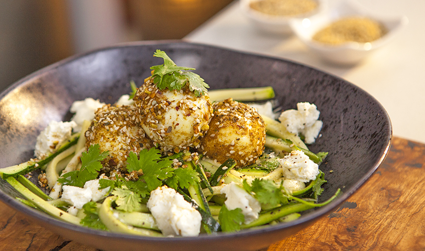 Pistachio Dukkah Eggs with Goats Cheese & Zucchini Salad